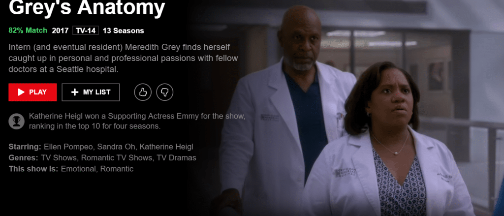 Netflix grey's anatomy