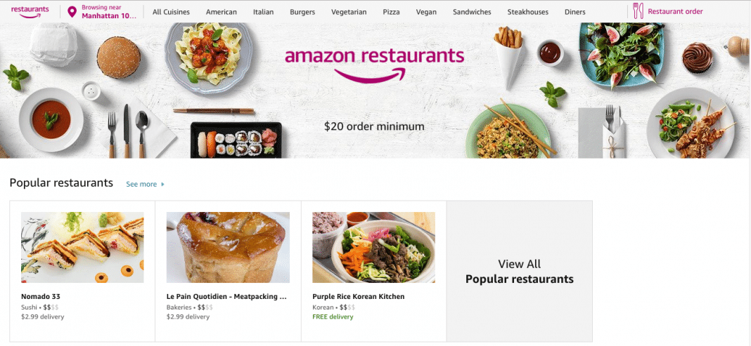 Amazon will deliver from 6,400 restaurants