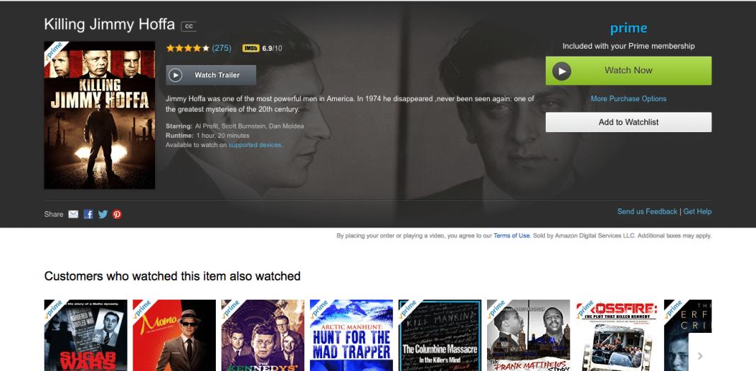 Killing Jimmy Hoffa on Amazon Prime