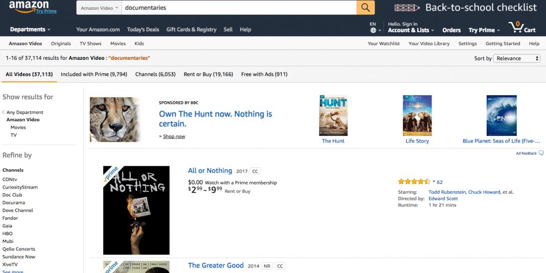 Amazon Video Documentaries