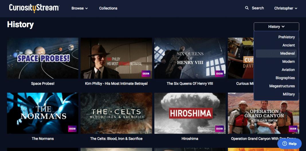 CuriosityStream browse by sub-theme