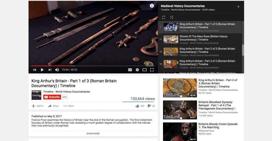 Timeline's King Arthur on YouTube