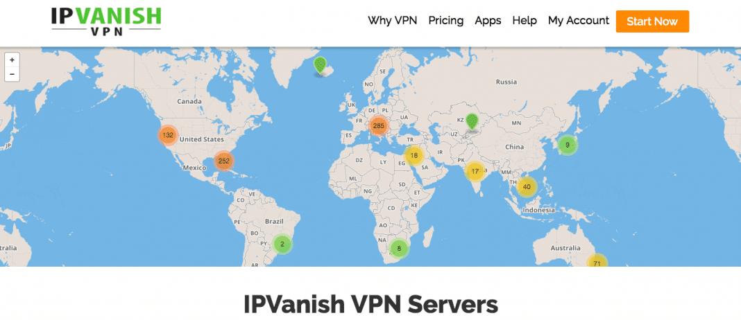 IPVanish worldwide servers
