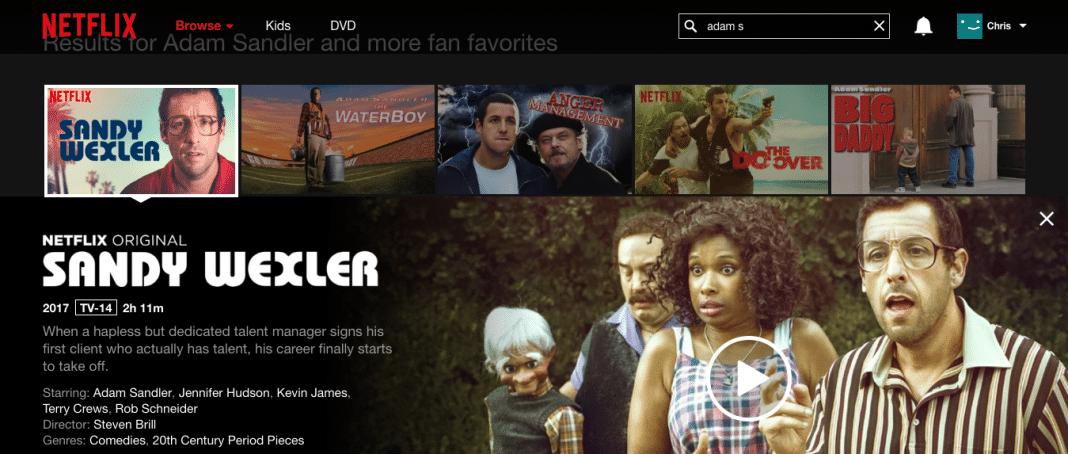 Sandy Wexler on Netflix