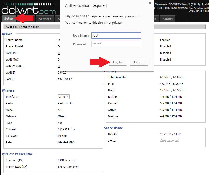 PPTP VPN setup login admin