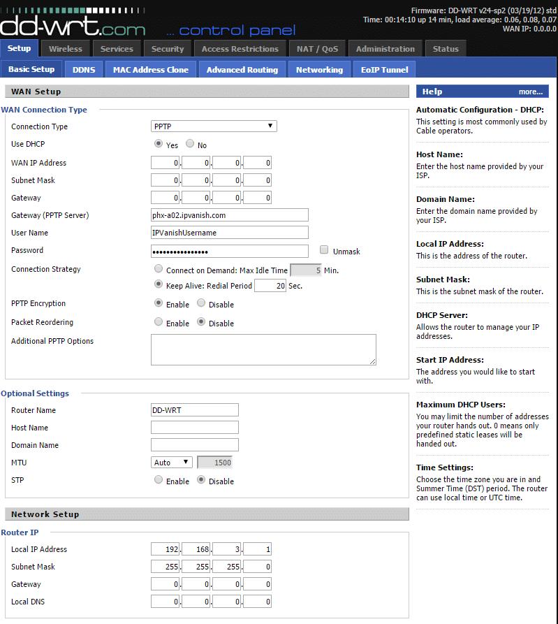 PPTP IPVanish VPN settings