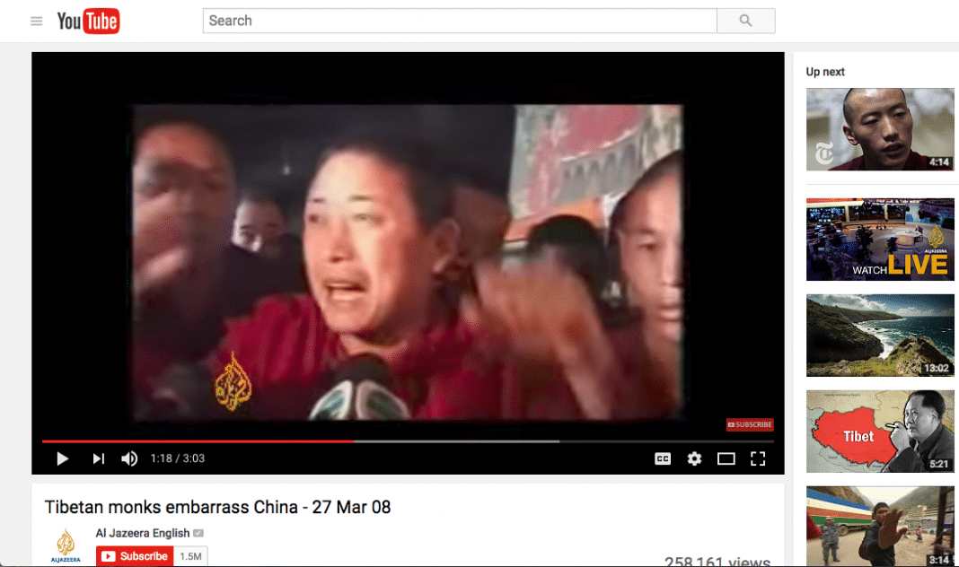 Tibet 2008 protests on YouTUbe