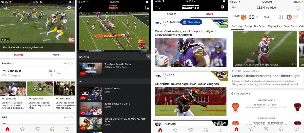 ESPN app screenshots