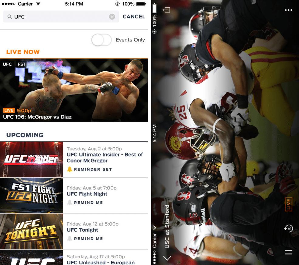 Fox Sports Go app screenshots