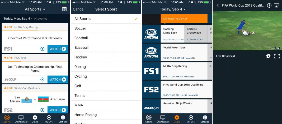 FuboTV app screenshots