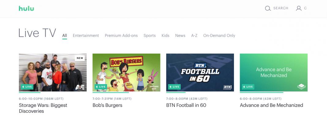 Hulu TV interface