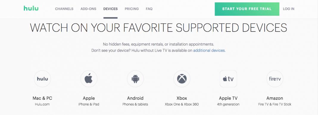 Hulu TV device support