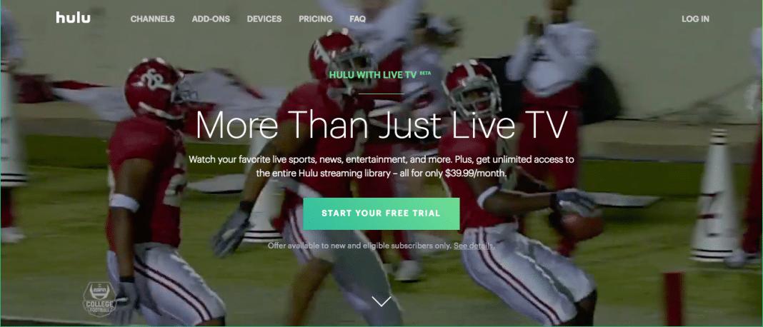 Hulu TV welcome screen