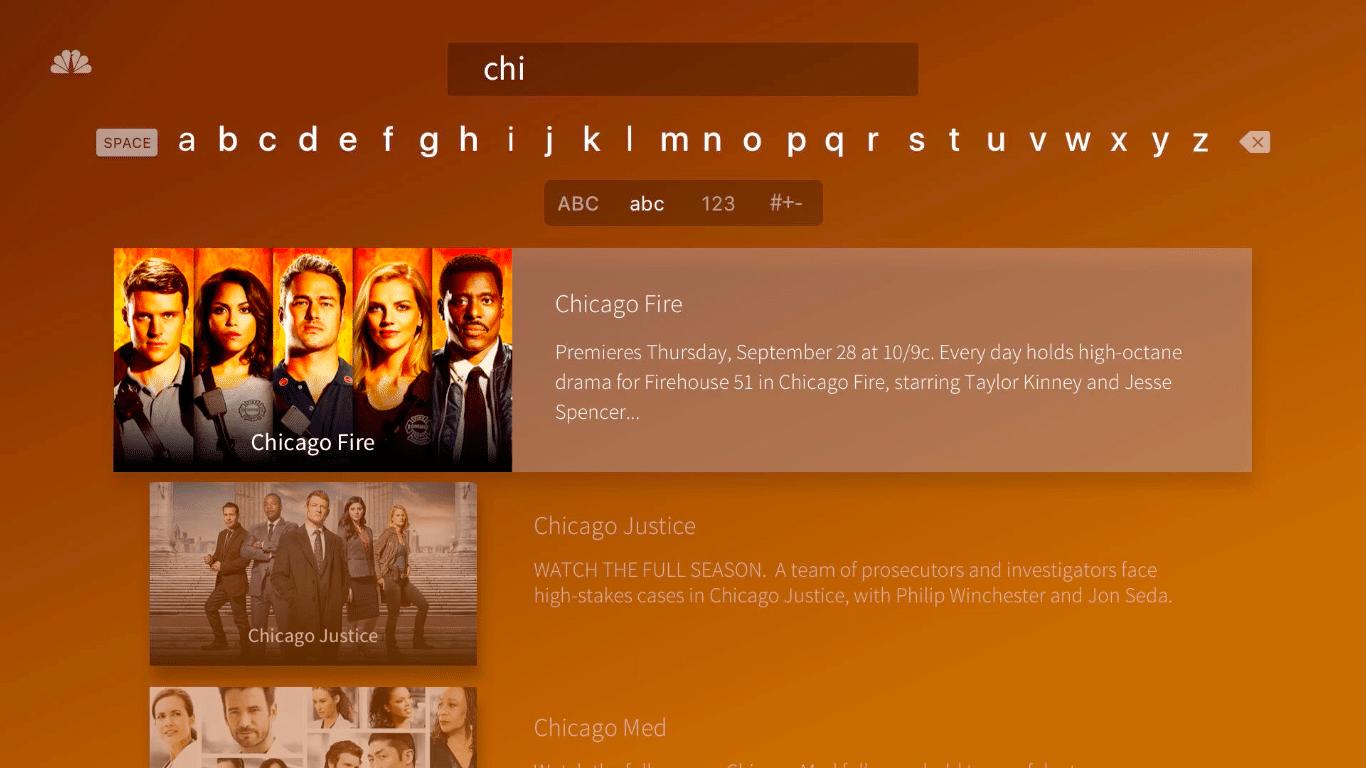 NBC app on Apple TV