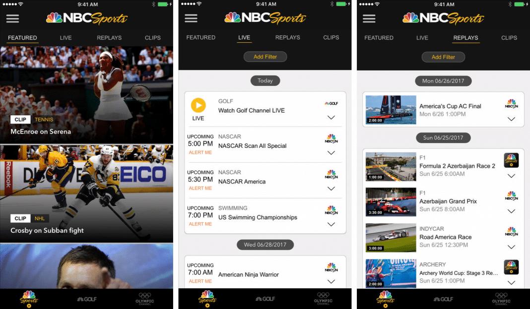 NBC Sports app screenshots