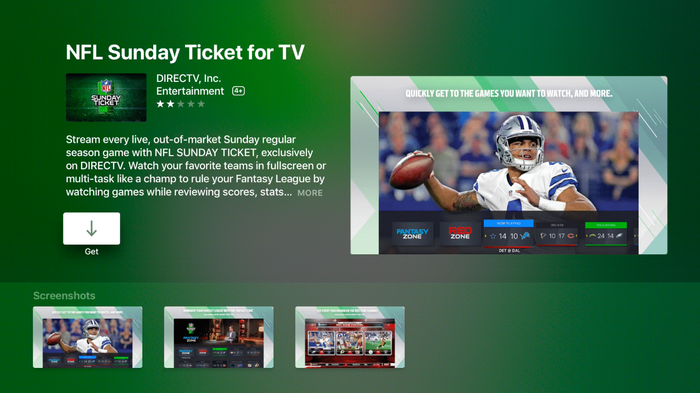 NFL Sunday Ticket on Apple TV