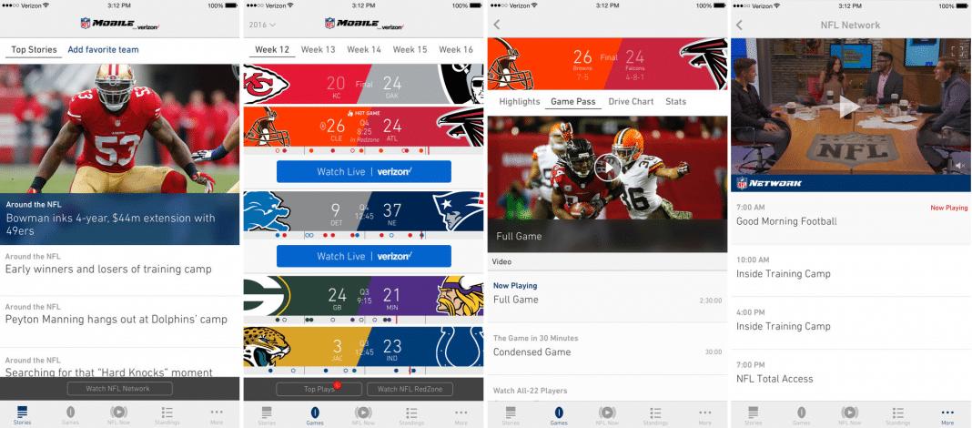 NFL app screenshots