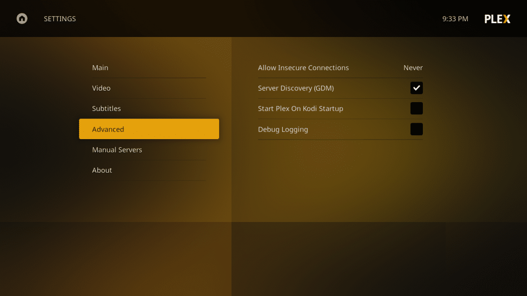 Plex for Kodi advanced settings