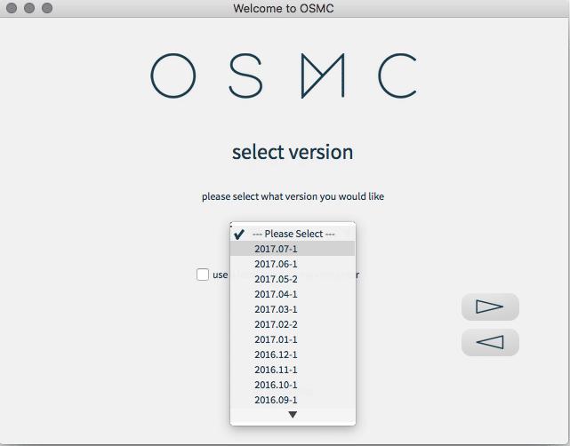 OSMC version list install