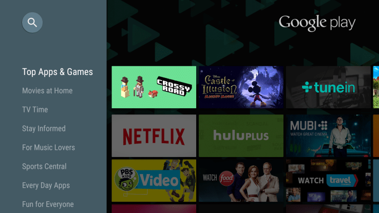 android tv menu