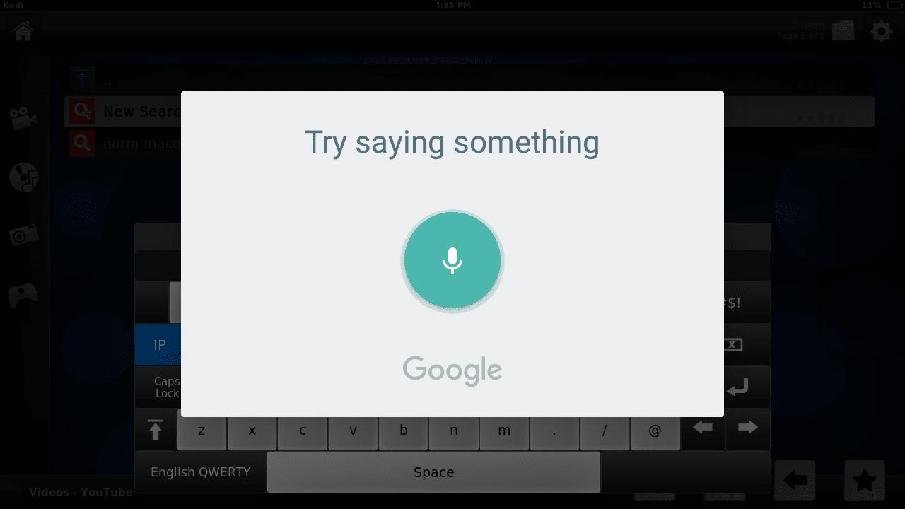 speech recognition kodi