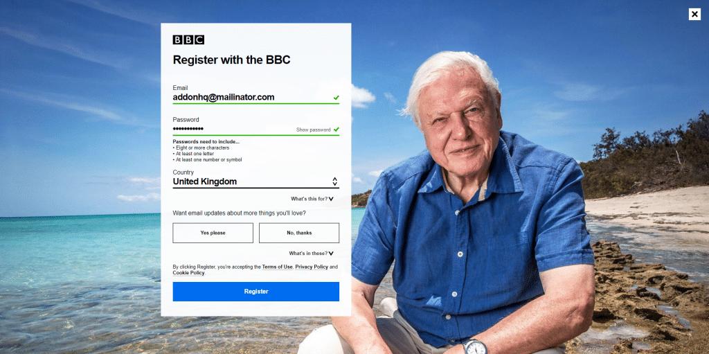 bbc registration iPlayer
