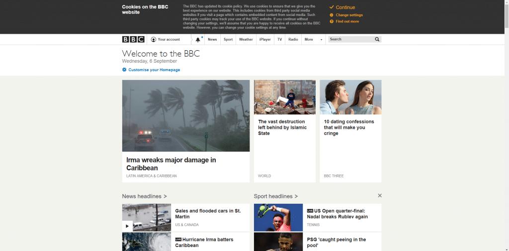 BBC homepage iPlayer