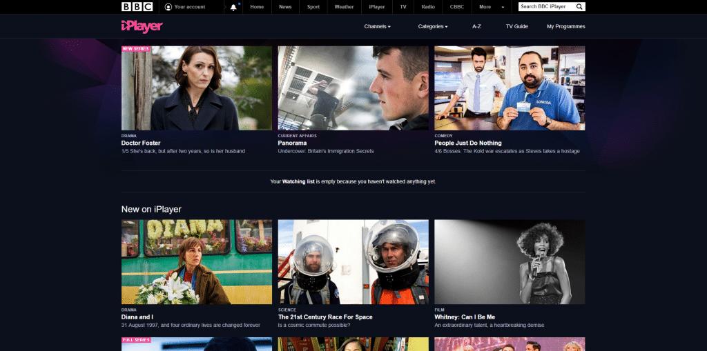 bbc iplayer main screen
