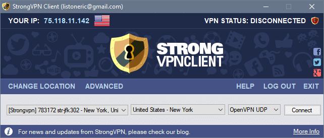 server select strongvpn client