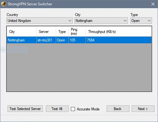 server select strongVPN