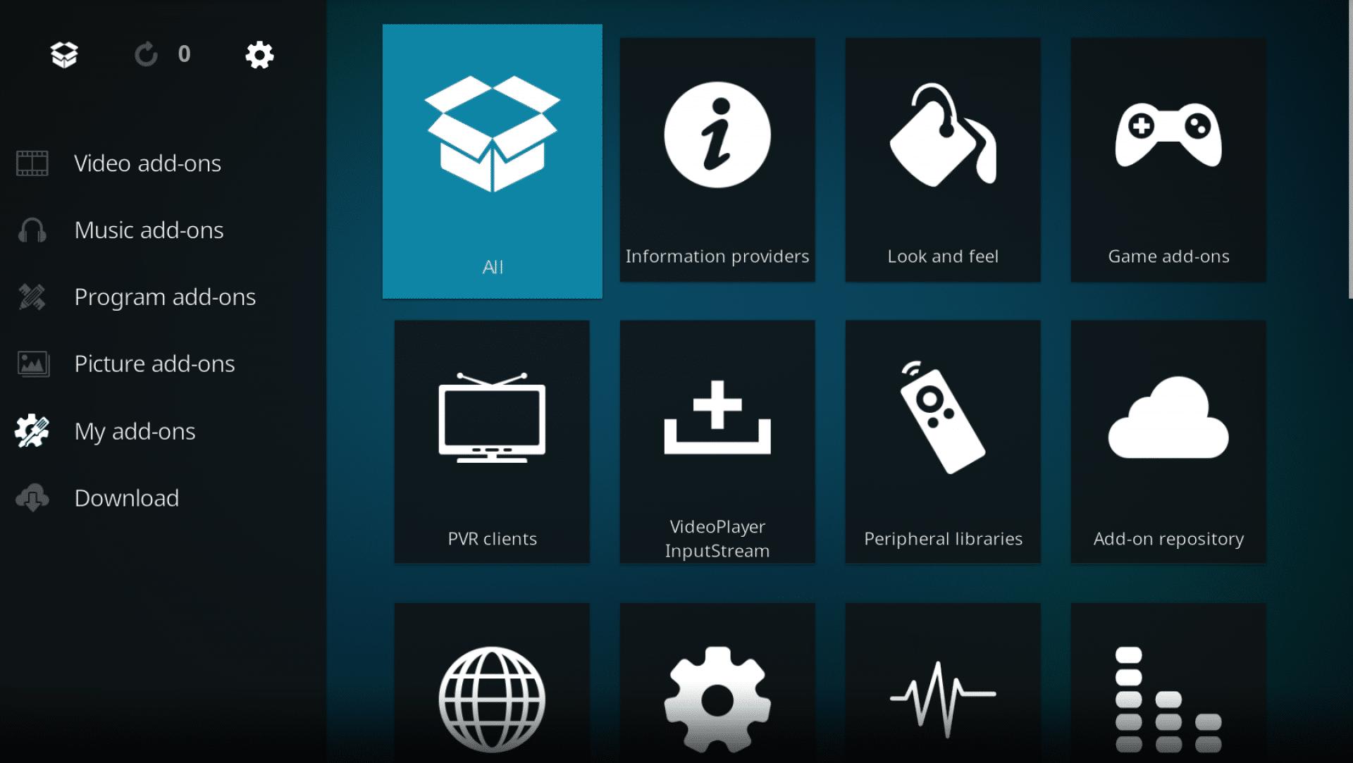 Selecting all add-ons on Kodi interface