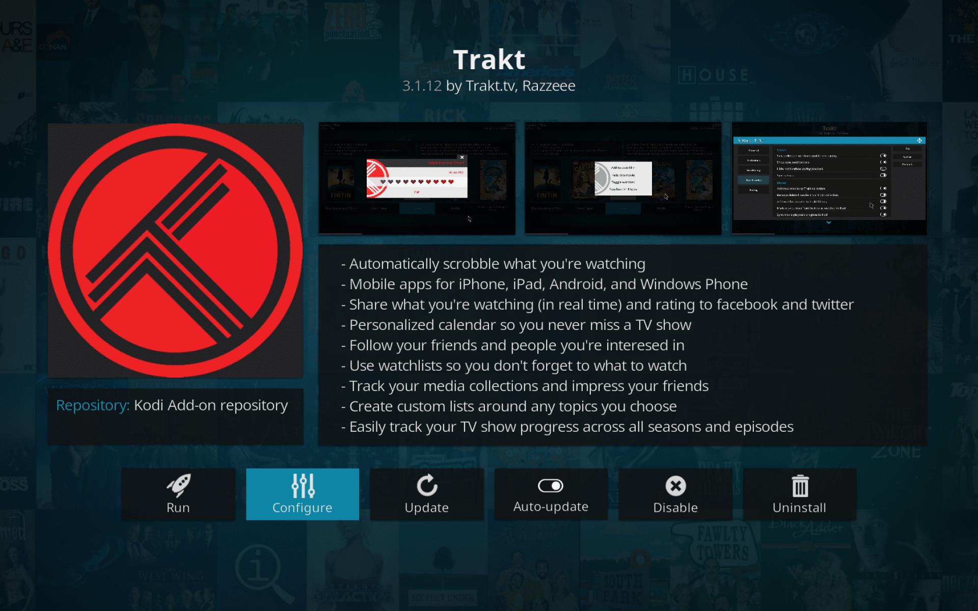 Configure Trakt settings on Kodi interface
