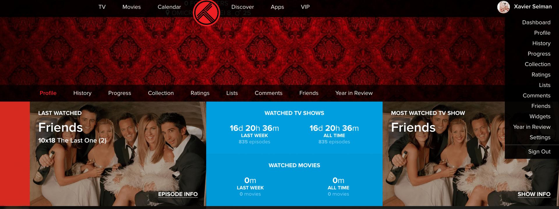 A profile page on Trakt.TV