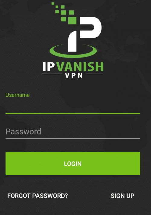 IPVanish login screen OnePlus 5