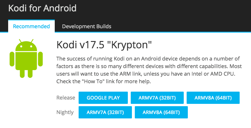 Kodi downloads for Android