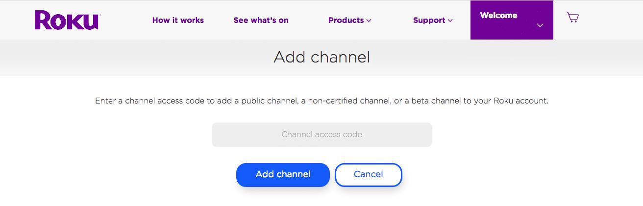 Add channel on Roku