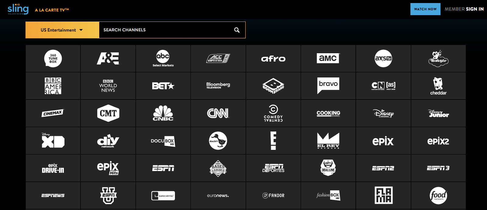 Sling TV Channel List