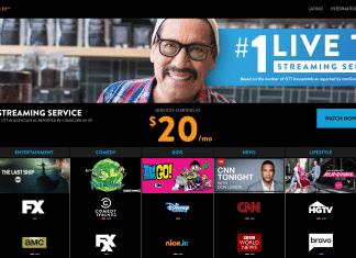 sling tv main login screen