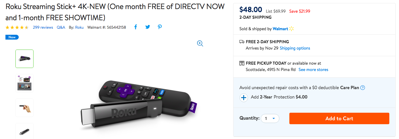 Roku Streaming Stick+ at Walmart