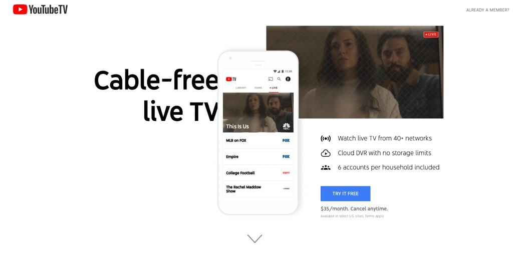 YouTube TV sling tv alternatives 2019
