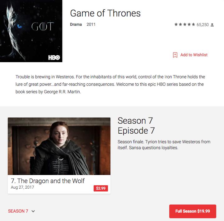 watch Game of Thrones season 7 VOD HBO now alternative