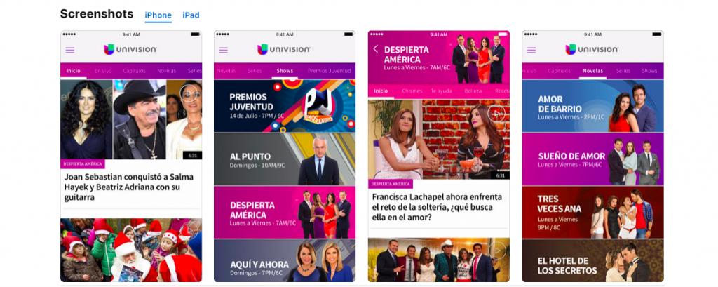 Univision App on iOS