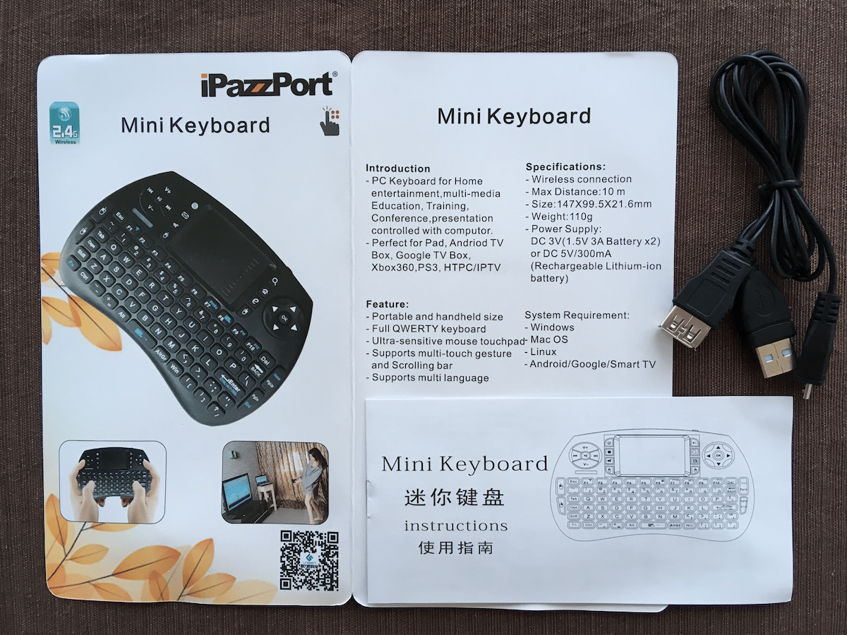 Contents of iPazzport Wireless Mini Keyboard