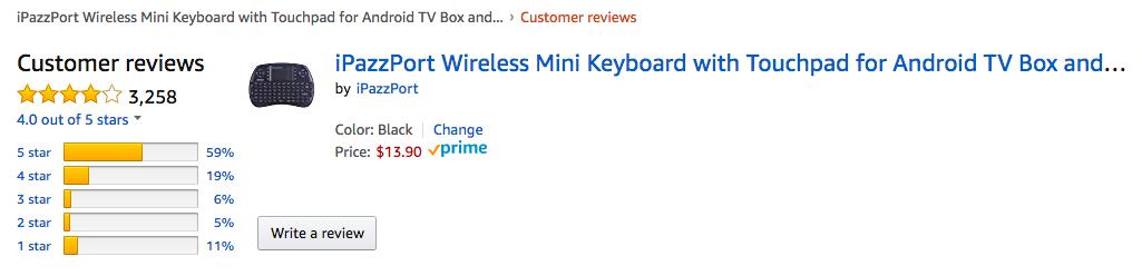 Amazon reviews of iPazzport Mini Wireless Keyboard