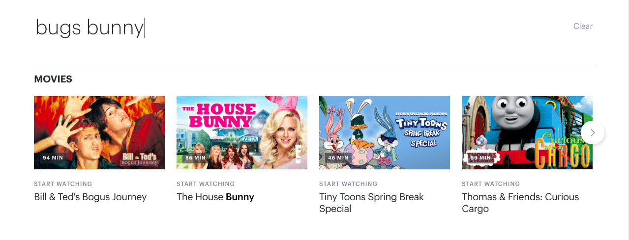 Searching for Bugs Bunny on Hulu