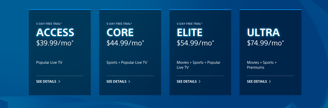 PlayStation Vue subscription plans