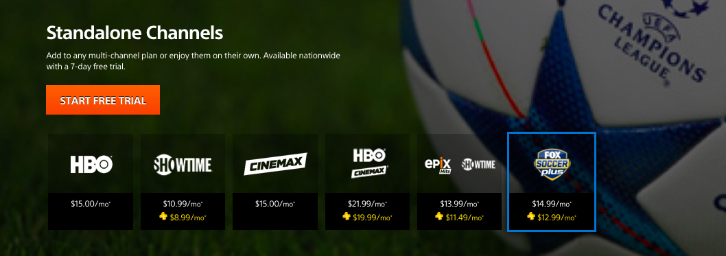 Subscribe to standalone channels on PlayStation Vue