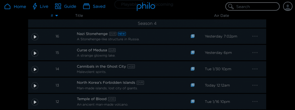Recorded programs on Philo