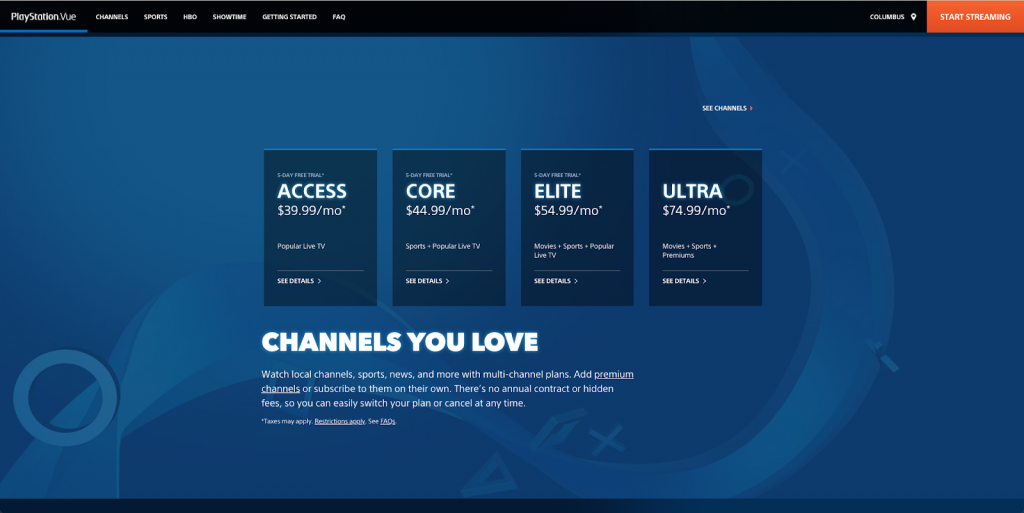 PlayStation Vue Vs. Sling TV channel lineup coverage live streaming tv cord-cutting
