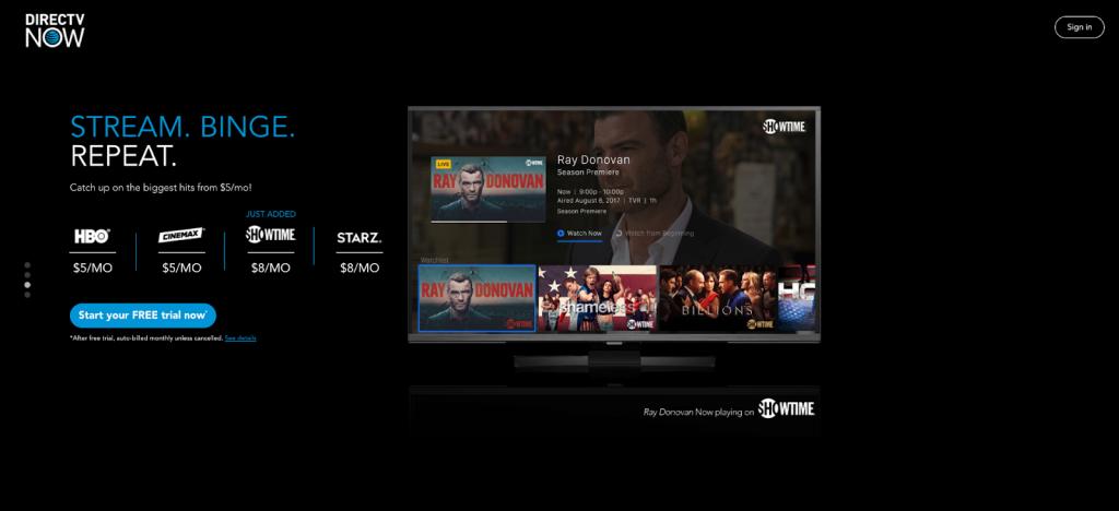 directv now premium channels showtime starz cinemax hbo playstation vue